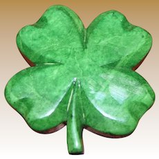 Green Italian Alabaster Four Leaf Clover Paperweight