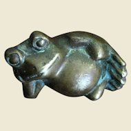 Amusing Small Brass Frog Paperweight
