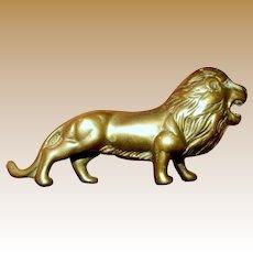 Amazing Cast Brass Lion Paperweight Sculpture