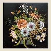 "14"" 1940's Tole Tray w/ Floral Design"