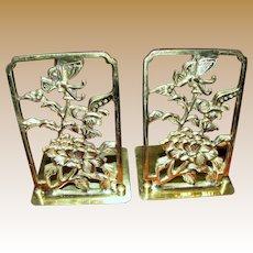 Cast Brass Folding Bookends w/ Flowers & Butterflies
