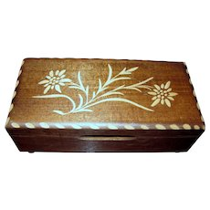 Swiss Carved Wooden Edelweiss Music Box by Mapsa