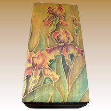 Blond Hardwood Box w/ Hand Painted Iris Design