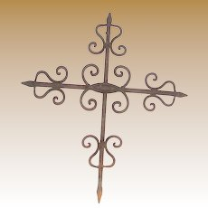 """23"""" Hand Forged Iron Rod Field or Wall Cross w/ Aged Patina"""
