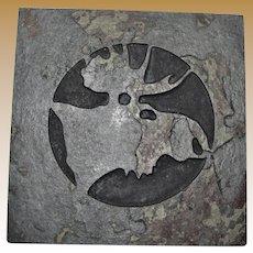 "Slate Cut ""Moose Head"" Trivet, Natural Stone, Like New"