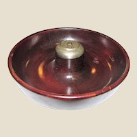 "c1900-1940 Mahogany Turned Wood Pipe Ashtray With Chrome Pipe Knocker, 8"", Made in USA"