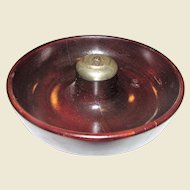 """c1900-1940 Mahogany Turned Wood Pipe Ashtray With Chrome Pipe Knocker, 8"""", Made in USA"""