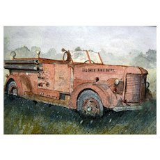 "Stanley Wayman Watercolor Painting of 1940""s Fire Truck"