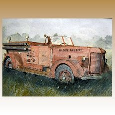 """Stanley Wayman Watercolor Painting of 1940""""s Fire Truck"""