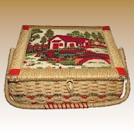 Vintage Japanese Wicker Sewing Basket w/ Embroidered Lid