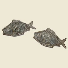 Pair Vintage Brass Fish Ash or Trinket Trays