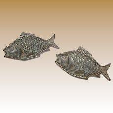 Pair Vintage Brass Fish Ash or Trinket Trays