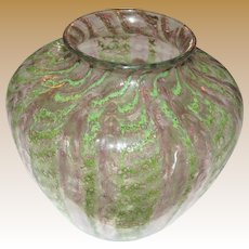 Douglas Nash Chintz Art Deco Hand Blown Glass Vase, Mint