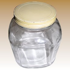 1950's Square Hoosier Jar w/ Ribbed Corners, Yellow Tin Lid, No 1
