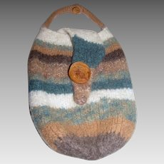 Signed Artisan Felted Wool Purse