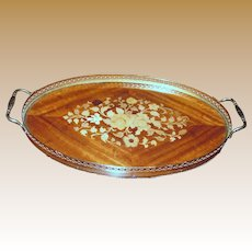 Italian Marquetry Serving Tray w/ Gilt Handles & Ornate Gallery Frame