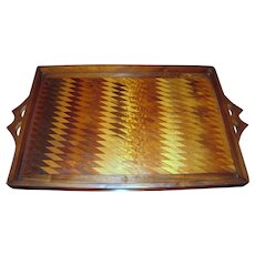 Art Deco Marquetry Tray, Ornate Chequer Hardwood Design