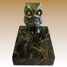 Charming Gilt Owl & Marble Paperweight