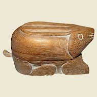 Hand Carved Wooden Asian Rabbit Trinket Box