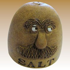 Stoneware Hand Made Salt w/ Whimsical Face