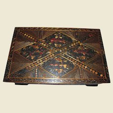 Large Russian Folk Art Lacquered Wooden Box w/ Straw Inlays