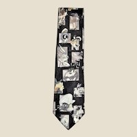 Black Vintage Looney Tunes Cartoons Men's Neck Tie