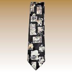 Black Vintage Looney Tunes Cartoons Men's Neck Tie