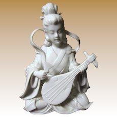 Vintage Blanc de Chine Porcelain Figure of Guanyin w/ Lute