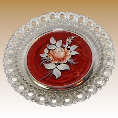 Westmoreland Open Lace Hand Painted Trinket Tray