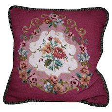 Petite & Needlepoint Wool Work Floral Pillow