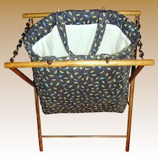 H, Quilted Yarn Bag on Folding Wood Stand
