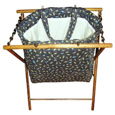 Quilted Yarn Bag on Folding Wood Stand
