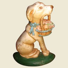 Large Cast Iron Dog w/ Basket Doorstop
