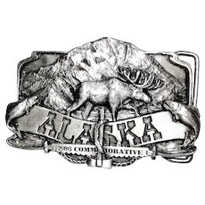Vintage 1985 Commemorative Alaska Belt Buckle Limited Edition 2333/5000 Siskiyou, Mint