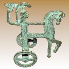 Mid-Century Etruscan Brass/Bronze Statue, Minerva holding her Owl riding Chariot & Horse, Verdigris, Mint