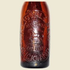 1900's Internal Thread Hollis Walls & Co Auckland Bottle, Horse Trade Mark, Rare
