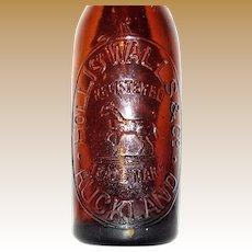1900's Internal Thread Hollis Walls & Co Auckland Bottle, Horse Trade Mark, Rare