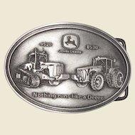 Vintage Pewter John Deere 9520 & 8530 Tractors Belt Buckle, Nothing Runs Like a Deere, Like New