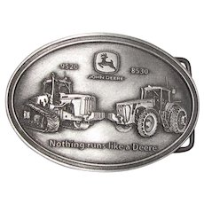 Vintage Pewter John Deere 9520 & 8530 Tractors Belt Buckle, Nothing Runs Like a Deere, Like New