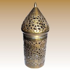 Ornate Middle Eastern Pierced Brass Candle Cover