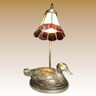 Cast Brass Decoy Mallard Duck Table Lamp w/ Slag Glass Shade