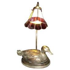 Cast Brass Decoy Mallard Duck Table Lamp w/ Slag Glass Shade