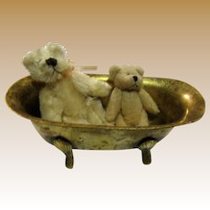 "Vintage Miniature Brass Claw Foot Bath Tub 5 1/2"" by 2"""