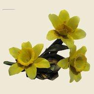 Capodimonte Spray of Yellow Daffodils, Napoleon Blue Crown Backstamp