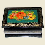 Tiny Miniature Hand Painted Russian Lacquer Box, Signed by Artist