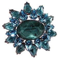 Petite Domed Aqua Rhinestone Pin, Cute!