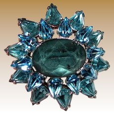Petite Domed Aqua Rhinestone Pin, Cute!
