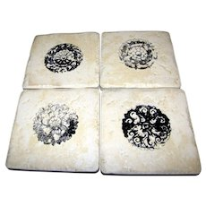 4 Hand Decorated Stoneware Tile Coasters w/ Cork Backs