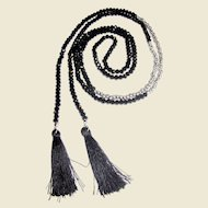 "58"" French Jet & Silvertone Bead Lariat Tassel Necklace"
