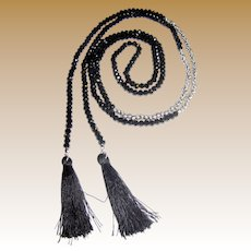 "58"" French Jet & Silvertone Bead Lariat Tassel Necklace"
